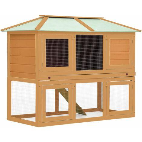vidaXL Conejera jaula de animales con doble piso de madera - Marrón