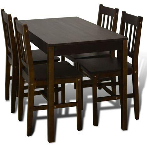 vidaXL Conjunto de Mesa de Comedor con 4 Sillas Muebles de Salón Cocina Asientos Sillónes Mobiliario Casa de Madera Color Natural/Marrón