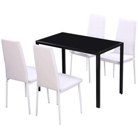 vidaXL Conjunto de Mesa y Sillas de Comedor 5 Piezas Asiento Cocina Mobiliario Muebles Salón Interior Respaldo Decoración Estable Sencillo Multicolor