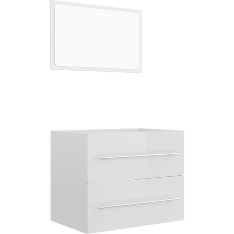 """main image of """"vidaXL Conjunto de muebles de baño 2 pzas aglomerado blanco brillante - Blanco"""""""