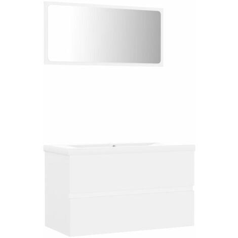 vidaXL Conjunto de muebles de baño aglomerado blanco - Blanco