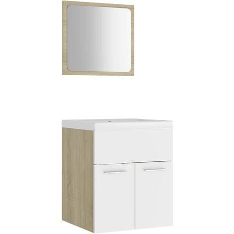 vidaXL Conjunto de muebles de baño aglomerado blanco y roble Sonoma - Beige