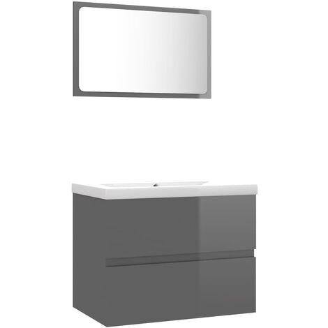 vidaXL Conjunto de muebles de baño aglomerado gris brillante - Gris