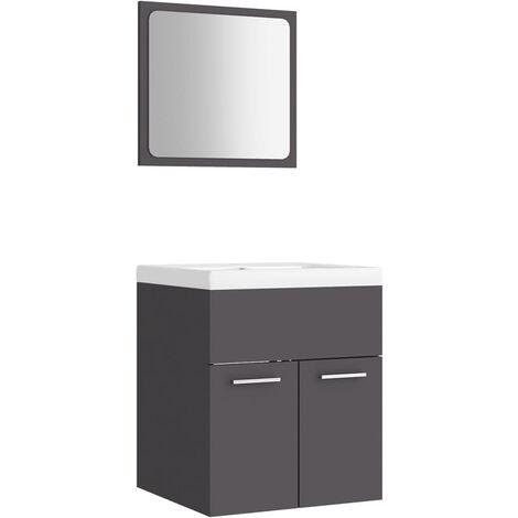 vidaXL Conjunto de muebles de baño aglomerado gris - Gris