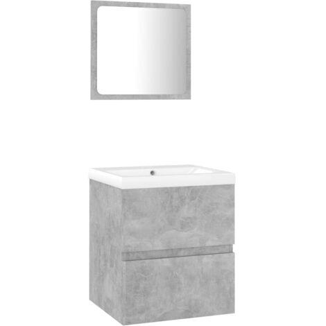 vidaXL Conjunto de muebles de baño aglomerado gris hormigón - Gris