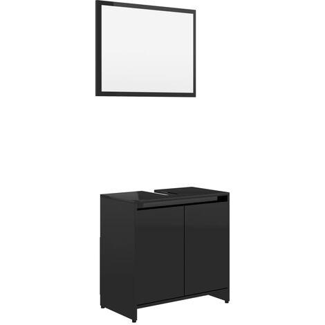 vidaXL Conjunto de muebles de baño aglomerado negro brillante - Negro