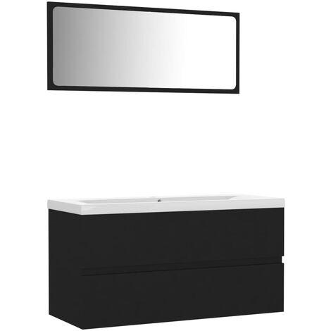 vidaXL Conjunto de muebles de baño aglomerado negro - Negro