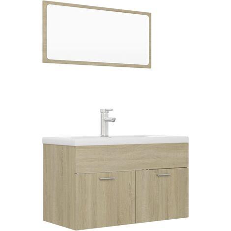 """main image of """"vidaXL Conjunto de muebles de baño aglomerado roble Sonoma - Marrón"""""""