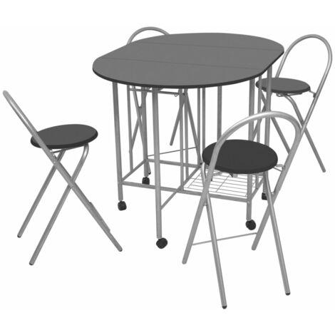 vidaXL Conjunto de Muebles de Comedor de Cocina Mesa y Sillas Asientos Sillón Mobiliario Hogar Casa Plegables 5 Piezas MDF Natural/Negro