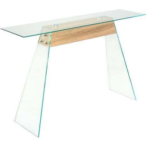 vidaXL Console Table MDF and Glass 120x30x76 cm Oak Colour - Transparent
