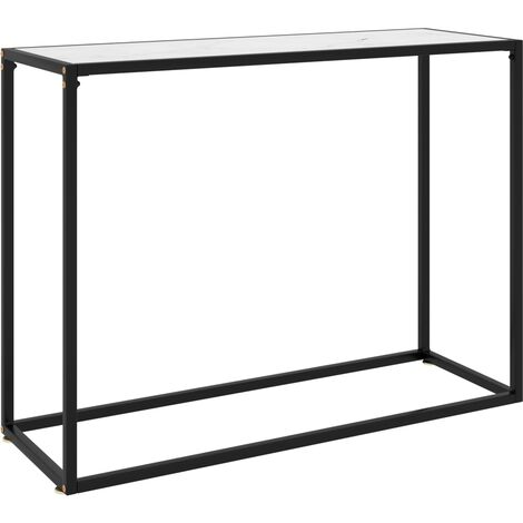 vidaXL Console Table White 100x35x75 cm Tempered Glass - White