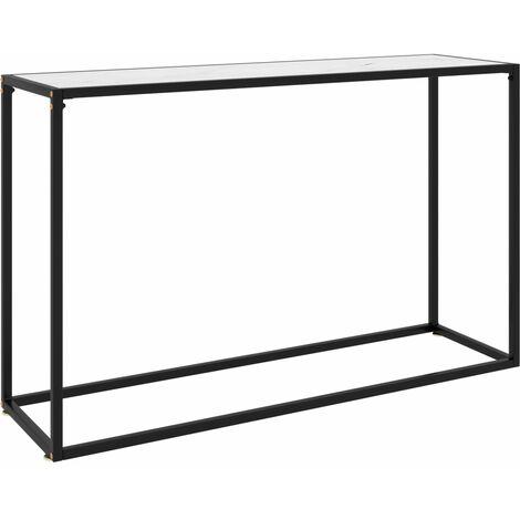 vidaXL Console Table White 120x35x75 cm Tempered Glass - White