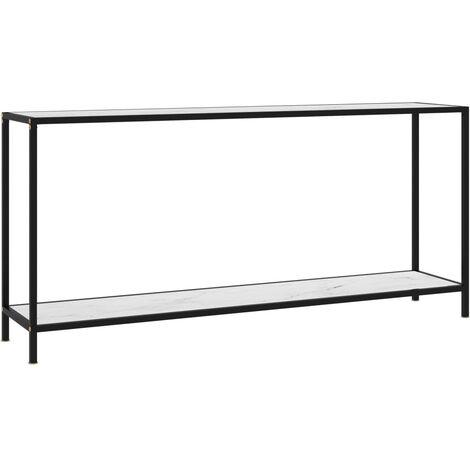 vidaXL Console Table White 160x35x75 cm Tempered Glass - White