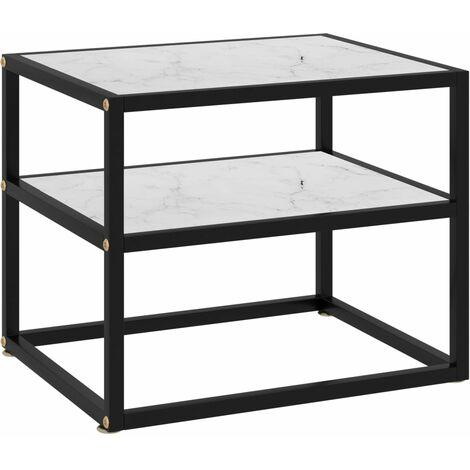 vidaXL Console Table White 50x40x40 cm Tempered Glass - White