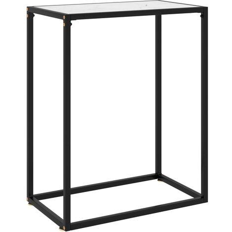 vidaXL Console Table White 60x35x75 cm Tempered Glass - White