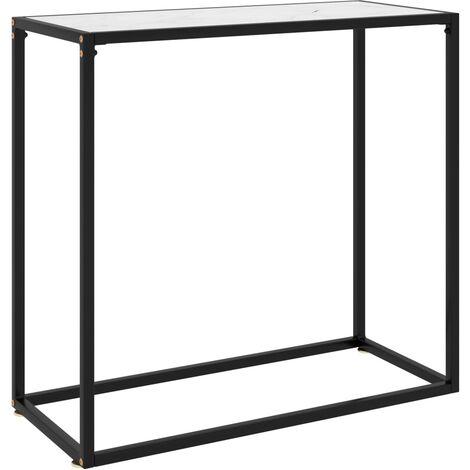 vidaXL Console Table White 80x35x75 cm Tempered Glass - White