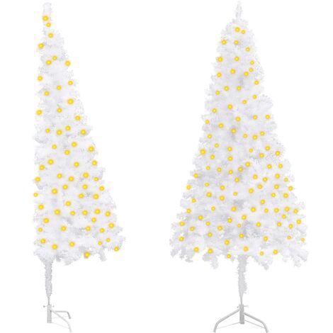 "main image of ""vidaXL Corner Artificial Christmas Tree with LEDs White 210 cm PVC"""
