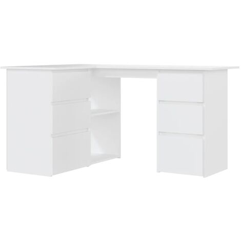vidaXL Corner Desk with Drawers and Shelves Durable Furniture Computer Study Table Laptop Workstation 145cm Chipboard Multi Colours