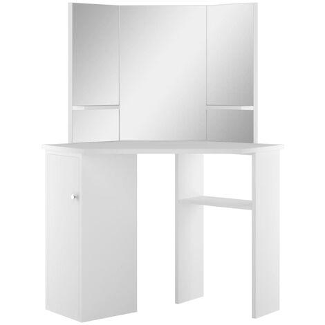 """main image of """"vidaXL Corner Dressing Table Make-up Table with LED Light Mirror Storage Shelf Bedroom Home Decoration Cosmetic Dresser White with/without LED Light"""""""