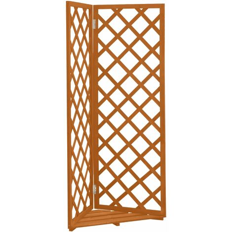 vidaXL Corner Trellis Planter Orange 50x50x145 cm Solid Firwood - Orange