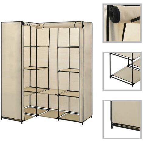 vidaXL Corner Wardrobe 130x87x169 cm Bedroom Clothing Shoes Rack Rail Hanger Holder Shelving Garment Stand Storage Organiser Multi Colours