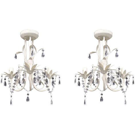vidaXL Crystal Pendant Ceiling Lamp Chandeliers 2 pcs Elegant White - White