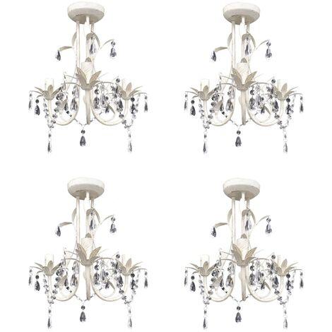 vidaXL Crystal Pendant Ceiling Lamp Chandeliers 4 pcs Elegant White - White