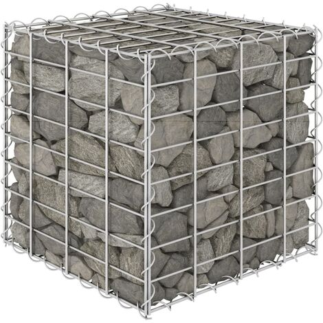 vidaXL Cube Gabion Raised Bed Steel Wire 40x40x40 cm - Silver