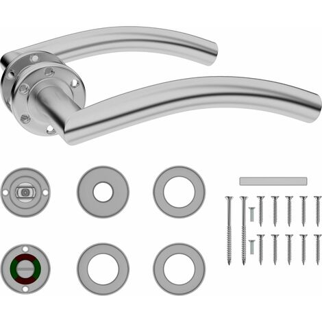 vidaXL Curved Door Handle Set with WC Lock Stainless Steel - Silver