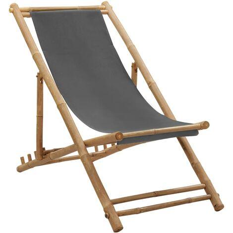 vidaXL Deck Chair Bamboo and Canvas Dark Grey - Grey