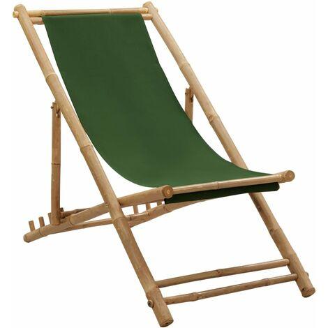 vidaXL Deck Chair Bamboo and Canvas Green - Green