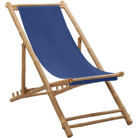 vidaXL Deck Chair Bamboo and Canvas Navy Blue - Blue
