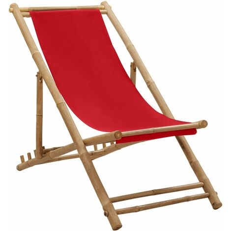 vidaXL Deck Chair Bamboo and Canvas Red - Red