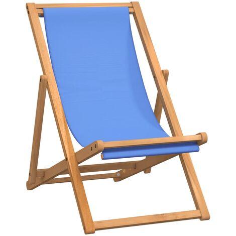 "main image of ""vidaXL Teak Deck Chair 56x105x96cm Outdoor Beach Foldable Seat Cream/Blue"""