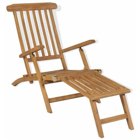 vidaXL Deck Chair with Footrest Solid Teak Wood - Brown