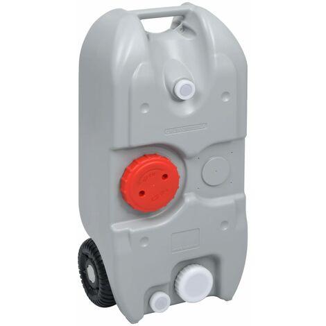 vidaXL Depósito de agua con ruedas para camping gris 40 L - Gris