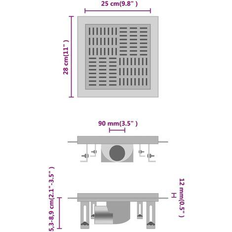 vidaXL Desagüe de ducha con cuadrados de acero inoxidable 25x25 cm