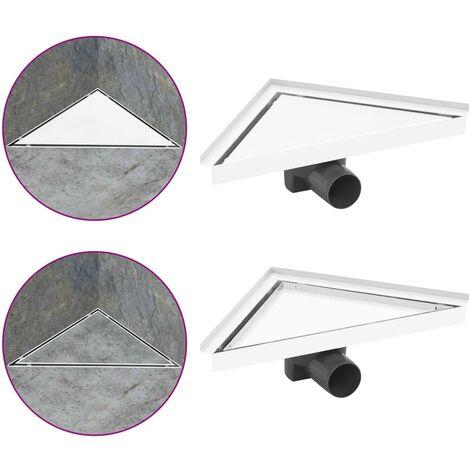 vidaXL Desagüe de ducha con cubierta 2 en 1 acero inoxidable 25x25 cm