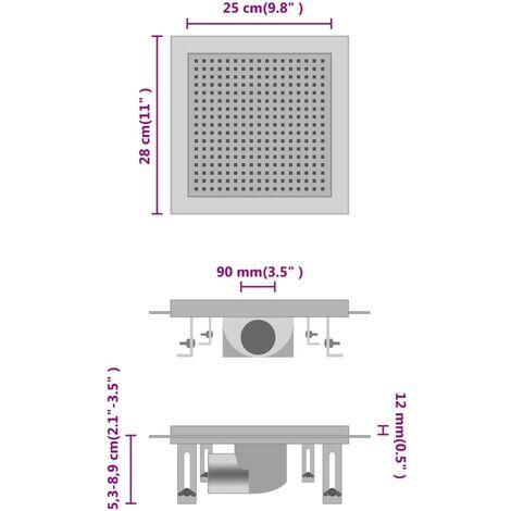 vidaXL Desagüe de ducha de acero inoxidable 25x25 cm