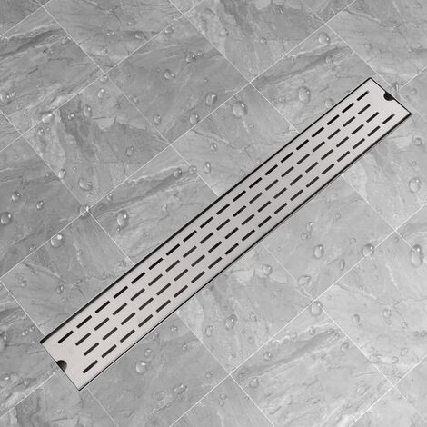 vidaXL Desagüe lineal de ducha 830x140 mm acero inoxidable