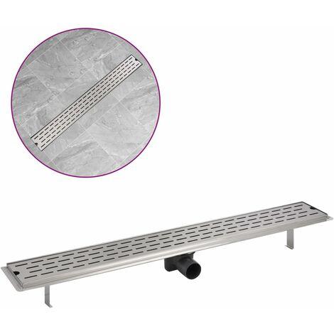 vidaXL Desagüe lineal de ducha líneas 930x140 mm acero inoxidable