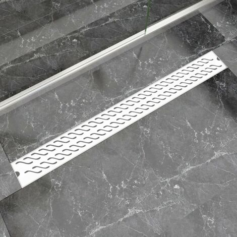 vidaXL Desagüe lineal de ducha ondas 1030x140 mm acero inoxidable
