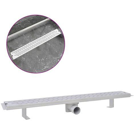 vidaXL Desagüe lineal de ducha ondas 830x140 mm acero inoxidable