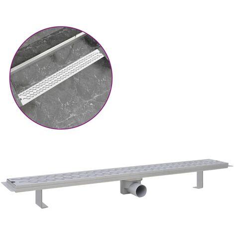 vidaXL Desagüe lineal de ducha ondas 930x140 mm acero inoxidable