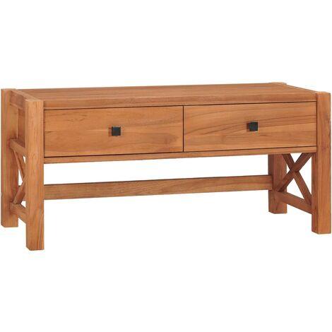 vidaXL Desk with 2 Drawers 100x40x45 cm Recycled Teak Wood - Brown