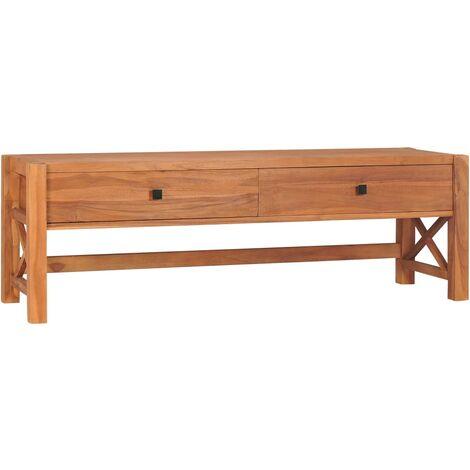 vidaXL Desk with 2 Drawers 140x40x45 cm Recycled Teak Wood - Brown