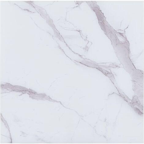 vidaXL Dessus de Table Verre avec Texture de Marbre Plateau de Table de Salle à Manger Meuble Table Basse de Jardin Multi-taille Blanc/Noir