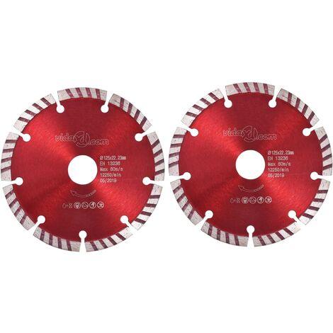 vidaXL Diamond Cutting Discs 2 pcs with Turbo Steel 125 mm