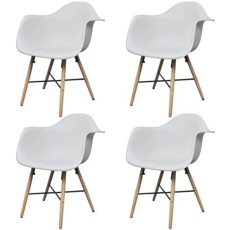 vidaXL Dining Chairs 4 pcs White Plastic and Beech Wood - White