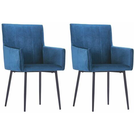 vidaXL Dining Chairs with Armrests 2 pcs Blue Velvet - Blue